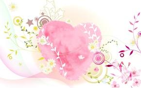 Wallpaper heart, postcard, vector, collage, Valentine's Day