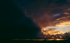 Picture the sky, trees, sunset, horizon, cloud