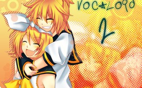 Picture girl, joy, anime, art, guy, Vocaloid, Vocaloid, Rin, hugs, Len