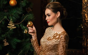 Picture look, girl, decoration, holiday, toys, tree, new year, hand, makeup, hairstyle, profile, gesture
