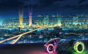Picture Lights, Night, The city, Future, Bike, Motorcycle, Fiction