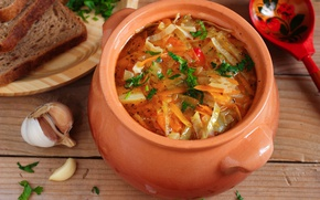 Picture bread, pot, cabbage, garlic, soup