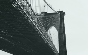 Picture bridge, the city, New York, Brooklyn, Manhattan, black and white, USA, USA, America, Brooklyn bridge, …