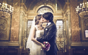 Wallpaper hugs, beautiful, groom, the groom, wedding, bouquet, kiss, love, Church, bouquet, joy, dress, beautiful, girl, ...