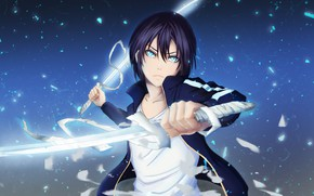 Wallpaper look, Noragami, sword, art, guy, Yato, God
