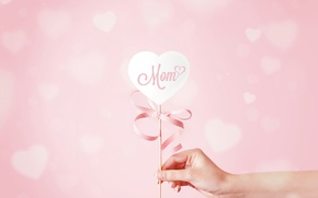 Picture heart, hand, hearts, ribbon, mother's day