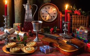 Picture wine, violin, watch, glass, books, candles, cookies, gifts, still life, bell, decanter, Holly