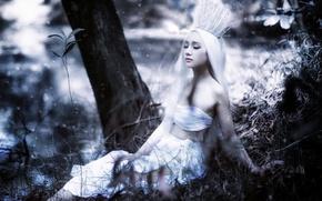 Wallpaper girl, nature, crown, Asian