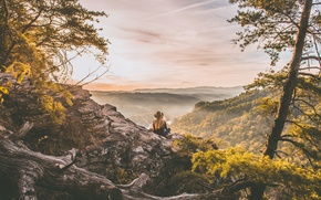 Wallpaper landscape, dawn, jeans, view, hill, rock, panorama, fog, trees, jacket, blonde, hat, forest, river, girl, ...