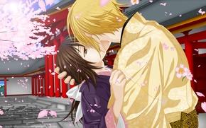 Picture romance, kiss, anime, art, two, Hakuouki, Yukimura Chizuru, Kazama Chikage
