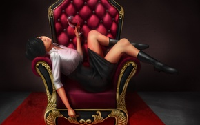 Picture chair, glass, girl, red eyes, skirt, anime, wine, art, bangs, look, pose