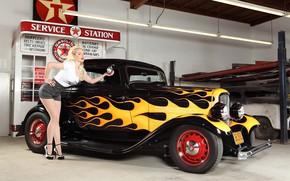 Picture machine, girl, garage, flames