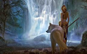 Wallpaper girl, fantasy, forest, river, landscape, weapon, nature, Warrior, waterfall, braid, animal, wolf, blonde, digital art, ...