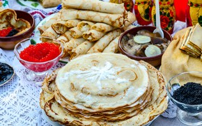 Picture pancakes, caviar, Carnival