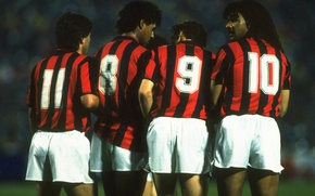 Picture retro, Milan, wall, Ruud Gullit, Red-black, Frank Rijkaard, Carlo Ancelotti