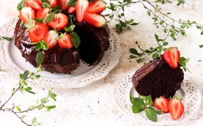 Picture chocolate, strawberry, cake, mint, cupcake