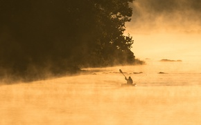 Picture fog, river, boat, people, morning