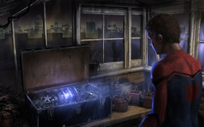 Wallpaper Spider-Man: Homecoming, art, comic, the city, suitcase, lights, Windows, figure, night, MARVEL, Spider-Man, weapons, Spider-man: ...