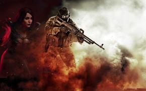 Wallpaper girl, background, magic, smoke, explosions, male, machine gun, ammunition, half naked, Pecheneg, Cosplay, voltage, Fink