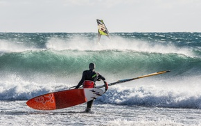 Picture sea, wave, the wind, sail, Board, Windsurfing