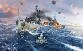 Picture ship, battle, World of Warships, gearing, fletcher