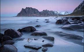 Picture sea, mountains, stones, coast, Norway, Norway, Lofoten, Utakleiv