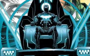 Picture future, fantasy, Batman, chair, comics, artwork, mask, superhero, costume, fantasy art, DC Comics, Bruce Wayne, …