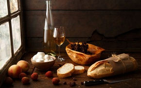 Picture style, table, wine, glass, bottle, cheese, window, bread, knife, peaches, Still life, raisins, Still Life ...