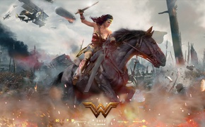 Wallpaper cinema, fire, battlefield, flame, sword, gun, Wonder Woman, dirigible, armor, weapon, war, man, army, fight, ...