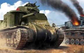 Wallpaper USSR, Lee, American medium tank, For Stalin