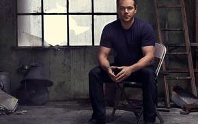 Picture actor, sitting, Matt Damon, photoshoot, on the chair, Matt Damon, Nino Munoz, 2016
