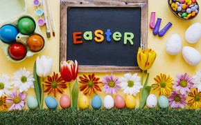 Picture spring, Tulips, Easter, Eggs, Holiday