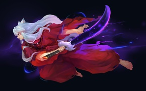 Picture attack, sword, ears, poludemon, arm, jerk, red suit, Inuyasha, long white hair