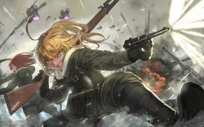 Picture battlefield, girl, gun, pistol, soldier, military, weapon, war, anime, fight, blonde, asian, manga, gloves, oriental, …