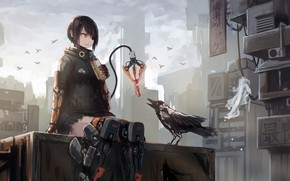 Picture city, future, girl, fantasy, robot, android, bird, crow, anime, food, sci-fi, artwork, fantasy art, eating, …