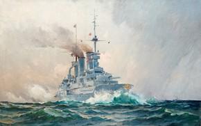 Picture warship, Herman Gustaf AF Sillen, Swedish seascape, German battleship
