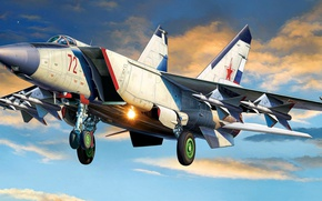Picture The Russian air force, The MiG-25, Foxbat, twin-engine high-altitude fighter-interceptor, Soviet supersonic
