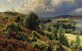 Picture landscape, nature, river, picture, Peter Merk Of Menstad, Peder Mørk Mønsted, The hills near Silkeborg