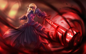 Picture dress, anime, warrior, manga, japanese, strong, Fate, Saber Age