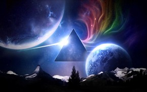 Picture Meadows, Mountains, Music, Stars, Planet, Space, Triangle, Pink Floyd, Art, Prism, Rock, Dark side of …
