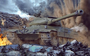 Picture tank, world of tanks, wot, tank, Soviet tank, wotart, anderarts, Isaiah 6, is-6, is-6