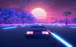 Picture Road, The game, Neon, Machine, Palm trees, DeLorean DMC-12, DeLorean, DMC-12, Electronic, Denver, Synthpop, Darkwave, …