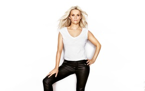 Wallpaper pose, wall, model, makeup, Mike, actress, hairstyle, blonde, white background, pants, Reese Witherspoon, Reese Witherspoon, ...