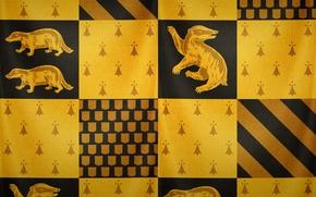 Picture black, yellow, texture, Hogwarts, Harry Potter, Hogwarts, badger, badger, Hufflepuff, Puffenduya, by theladyavatar