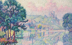 Wallpaper landscape, river, Les Andelys. Morning. Summer, pointillism, Paul Signac, picture