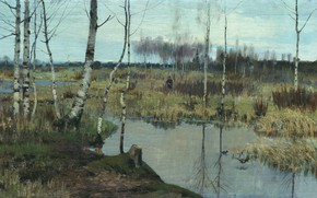 Picture oil, picture, canvas, hunter, Spring Landscape, Richard Bergholz