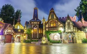 Picture night, lights, Park, street, home, lights, CA, USA, Disneyland, Anaheim