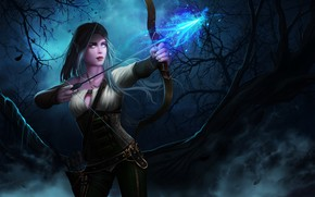 Picture forest, girl, night, elf, bow, arrow, World of Warcraft, Warcraft, wow, Archer