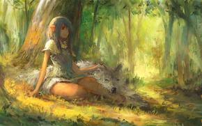 Picture forest, girl, wolf, fantasy, elf, Firando Art