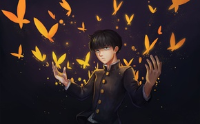 Picture butterfly, anime, art, guy, Mob Psycho 100, Kageyama Shigeo, Mob psycho 100